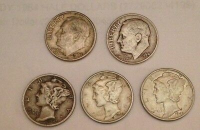 3 Mercury Silver Dimes and 2 Roosevelt Silver Dimes
