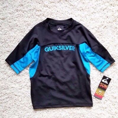 NWT AUTH MSRP $ 22.95 Quiksilver 2T Performer Surf shirt UPF 50+ Black / Blue