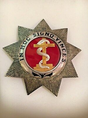 "Antique Knights Templar 9 pt sterling badge ""In Hoc Signo Vinces"" serpent cross"
