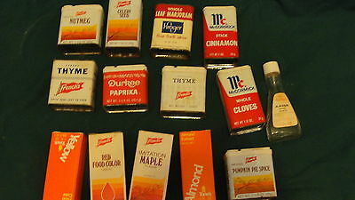 14 VINTAGE SPICE TINS & FLAVOR / COLOR BOTTLES - TONES , FRENCHES,  McCORMICK -