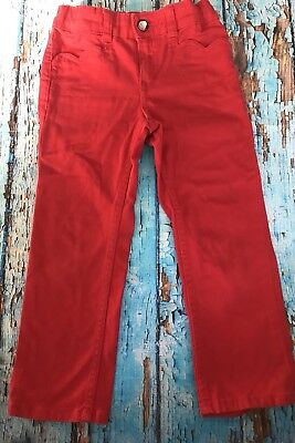 H&M kids girls skinny red jeans size 3-4Y with heart pocket detail. EUC