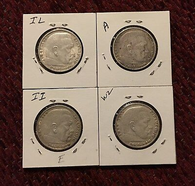 German Third Reich 5 Marks (with swastika) 90% Silver (4 coins) #1