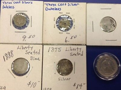 90% Silver Type Lot, 1876 Quarter, 3 cent piece Capped Bust, Seated Liberty dime