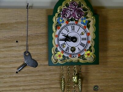 Authentic German Black Forest HAND PAINTED Chalet Style Novelty Clock