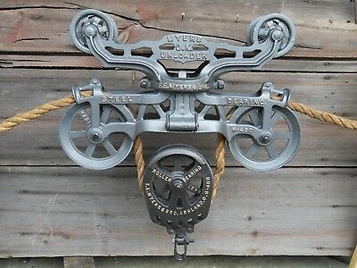 Antique F.e. Myers & Bro. O.k. Original Hay Trolley Ashland Oh Rope Decor Light