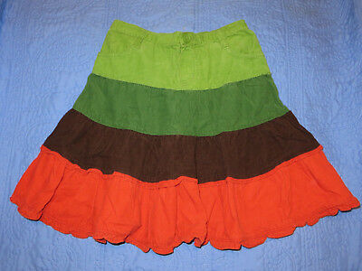 The Children's Place Girl's Tiered Flouncy Green Orange Corduroy Skirt 8