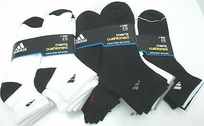 6 Pack Adidas Men Cushion QUARTER Socks Black WHITE LARGE 6-12 MOISTURE WICKING
