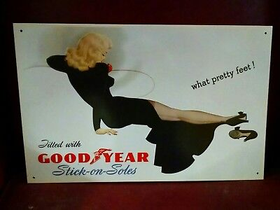 Pin up Girl Goodyear Stick on Soles High Heels old sign 1993 Beautiful! ONE ONLY