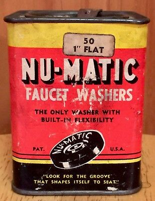 NU- MATIC FAUCET WASHERS In Solder Seal Tin W/ Paper Label  VTG Plumbing 1950s