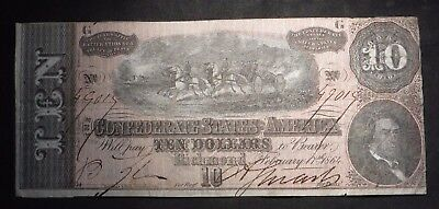 1864 Ten Dollar $10 Confederate Currency- Richmond- Nice Note
