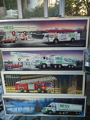 Lot Of 4 Vintage Hess Trucks- And Banks 1986, 1987, 1988,1989 Brand Nib