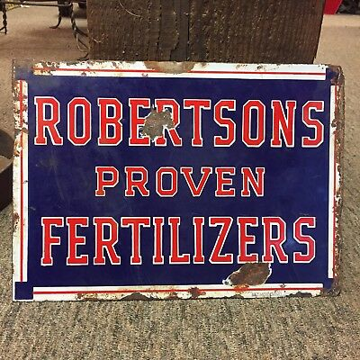 Robertsons Proven Fertilizers Porcelain 2 Sided Sign Vintage Farm Decor Chic