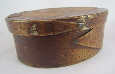 Antique Bentwood Small Oval Wood Pantry Box and Lid w/ Iron Nails