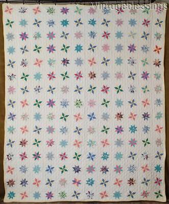 """Beautiful GIFT QUALITY 180 Tiny Twinkiling Stars Vintage 1930s QUILT 87"""" x 72"""""""