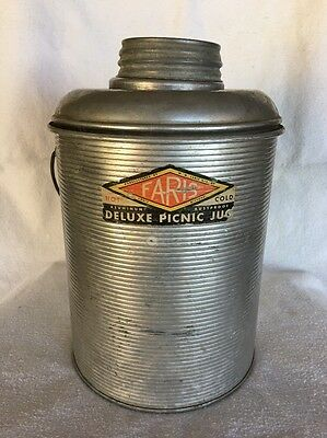 Original Vintage Faris Ribbed Aluminum Deluxe Picnic Jug Hot Or Cold Glass Lined
