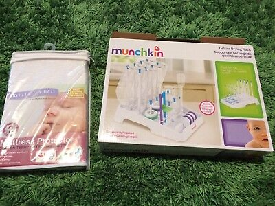 Munchkin Baby Bottle Drying Rack Dryer Drainer Folding + Bassinet Mattress Cover