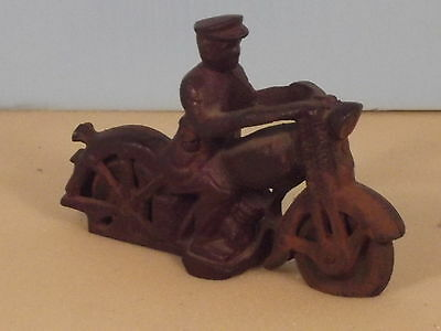 Vintage Cast Iron Toy Harley Davidson Police Motorcycle Replica Collectable