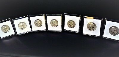 7 Solid Silver Washington Quarters, Range 1934 to 1964,RARE YEARS Make offer!