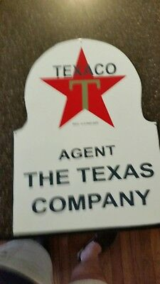 Vintage single Sided Porcelain  TEXACO MOTOR OIL Flange SIGN Texas Company