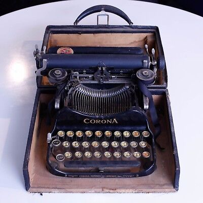 Antique Corona No.3 Folding Portable Typewriter with Carrying Case