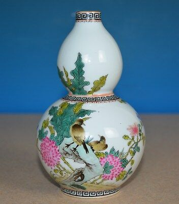 Exquisite Chinese Famille Rose Porcelain Vase Marked Qianlong Rare H0687