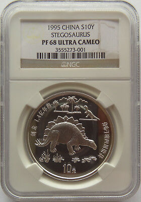 1995 China S10Y Stegosaurus NGC PF 68 UC rare proof 2,500 mintage Silver