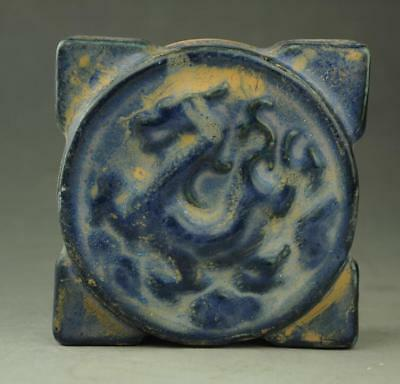 chinese old blue glaze porcelain hand engraving dragon writing-brush washer