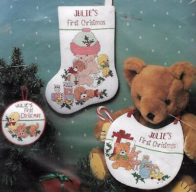 """BABY'S 1ST XMAS"" Quality XMAS 3PCE SET KIT to CROSS ST ON 14CT AIDA KIT SALE!"