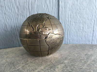 "Collector Bank Heavy Metal Earth Globe In Good Condition Approx 3 1/2"" Tall"