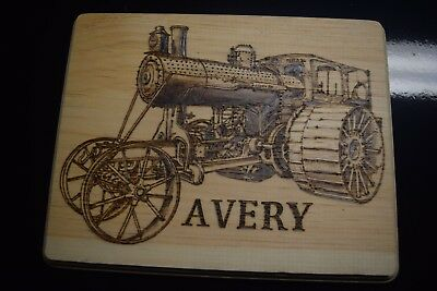 Avery steam engine plaque hand wood burned 11x8 1/2