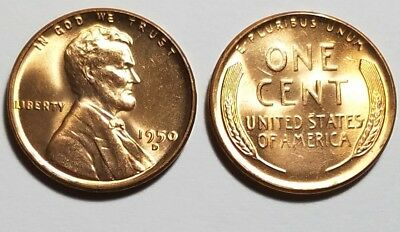 1950D ~ Lincoln Wheat Cent from BU Roll