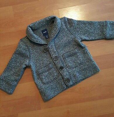 Baby GAP Boys 6-12 Months Gray Fleece Cardigan Button Down Sweater Jacket EUC