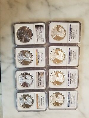 8 Silver Eagles, 7 Proof, 1 MS. 5 Early Releases, 7 Ultra Cameo, 1 2013 W MS 70