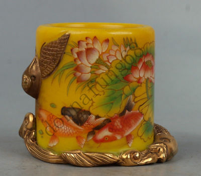 Chinese Exquisite handmade fish lotus pattern fish carving Glass pot /pen wash