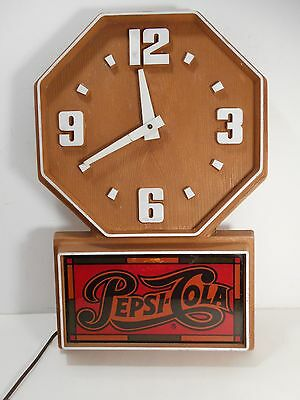 Vintage Pepsi-Cola Electric Wall Clock Faux Wood 1980's Impact International Inc
