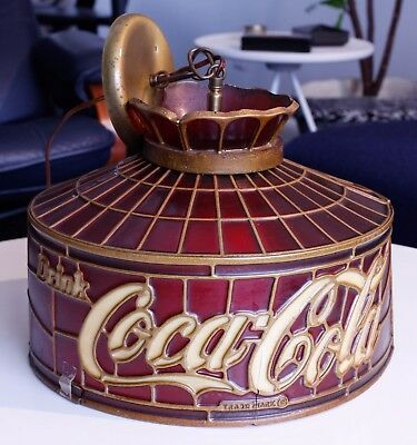 RARE red Coca Cola tiffany Stylite stained glass style HANGING LAMP Coca-Cola