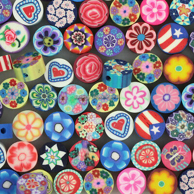 100pcs 10mm Mixed Polymer Fimo Clay Flat Round Flower Loose Spacer beads