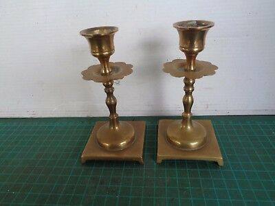 Vintage pair of small brass candlesticks, weighted base