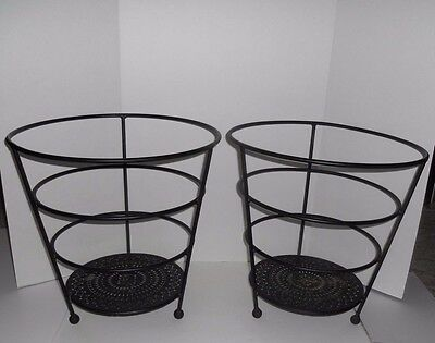 2 Vintage Large Ornate Wrought Iron Metal Flower Planter Pot Holder Porch Patio