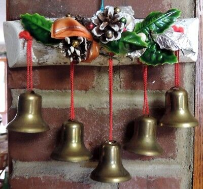 Vintage Christmas Wall Door Hanging 5 Brass Bells On Small Wood Log Decorated