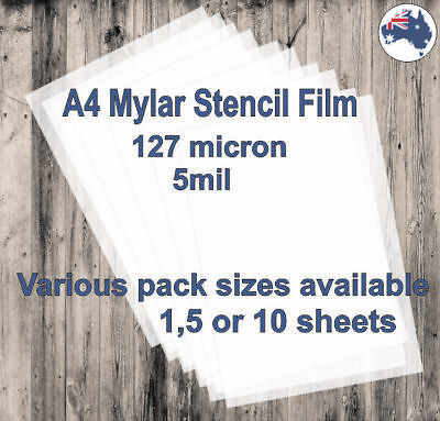 A4 Mylar Stencil Film, 127 micron (5mil) available in 1, 5 or 10 sheets