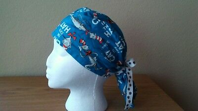 Cat in the Hat Ponytail Surgical Scrub Hat Women Handmade