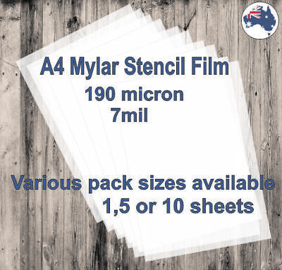 A4 Mylar Stencil Film, 190 micron (7mil) available in 1, 5 or 10 sheets