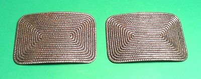 Vintage Pair Of Pretty Silvertone Shoe Clips Rectangle Rope Design