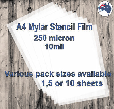 A4 Mylar Stencil Film, 250 micron (10mil) available in 1, 5 or 10 sheets