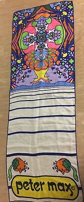 Vintage Silk Peter Max Psychedelic Design Long Scarf 14 by 41 ½ inches Pop Art