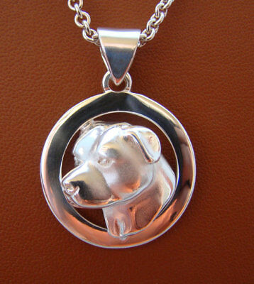 Sterling Silver Pit Bull Terrier AM Staff Head Study On A Wide Circle Frame