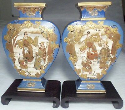 Antique Japanese Meiji Period SATSUMA POTTERY VASE PAIR w/ WOOD STANDS very nice