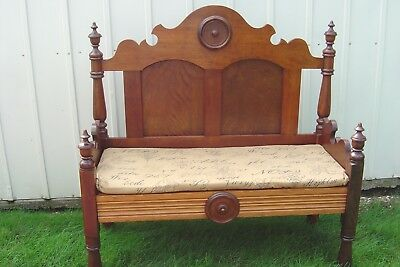 Repurposed Wood Original Finish Antique Headboard Bench For Porch Foyer  Dining
