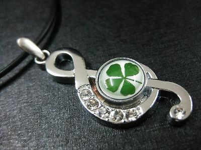 noble leaf clover  jewelry  real  green four leaf clover note pendants mm001